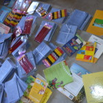School supplies ready to be  given out to the  OVC beneficiaries